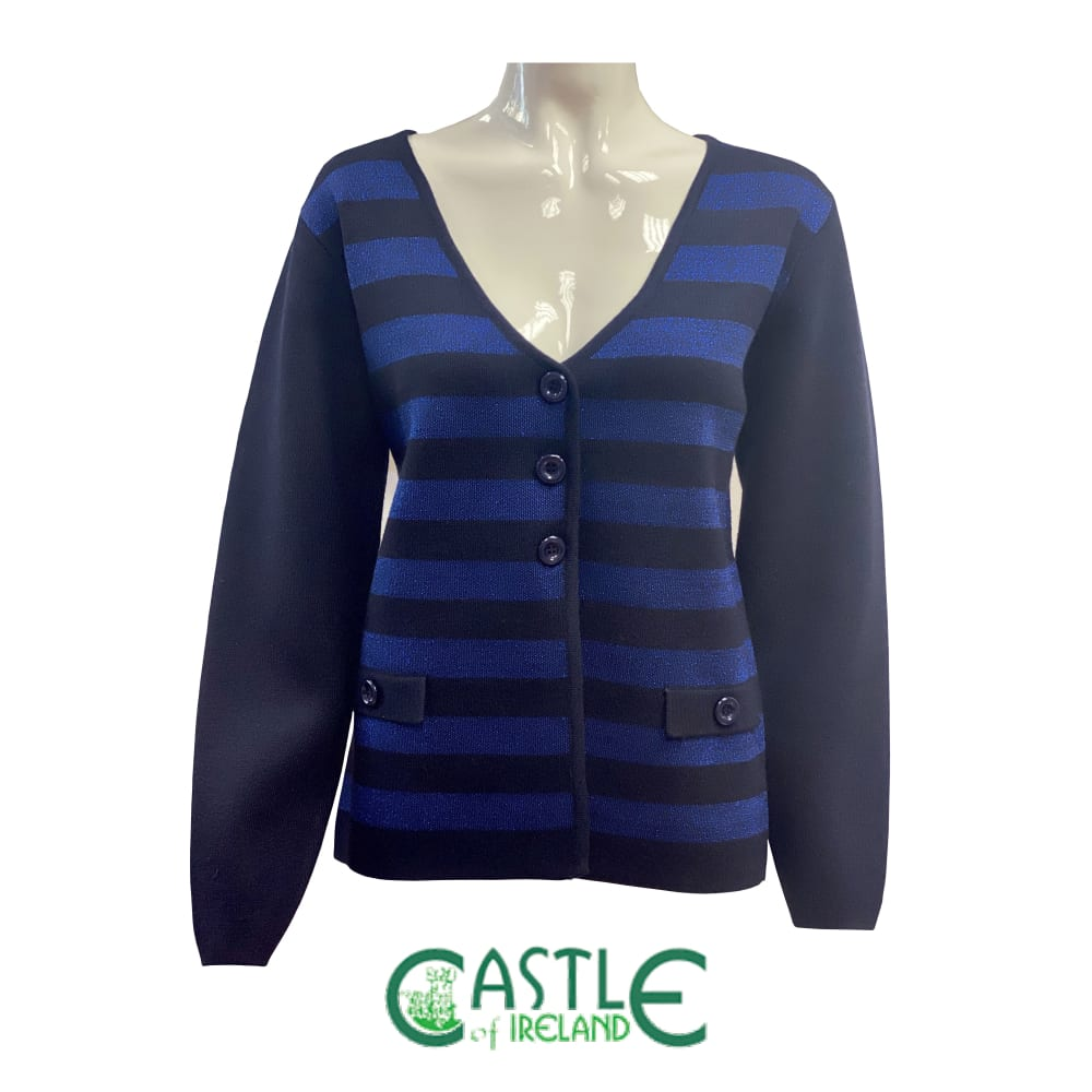 Lurex striped knitted cardigan